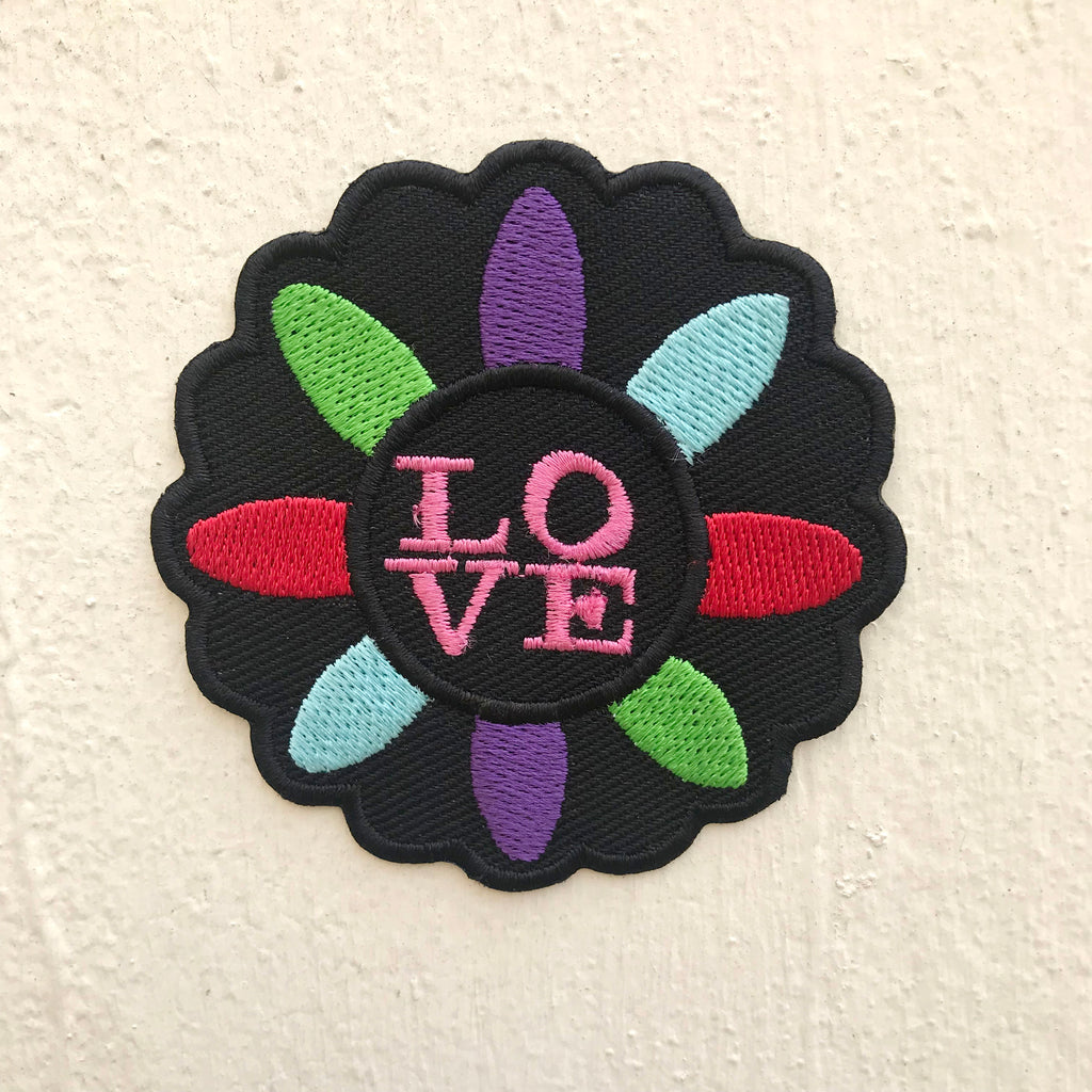 Beautiful Colourful Love Flower Iron on Sew on Embroidered Patch