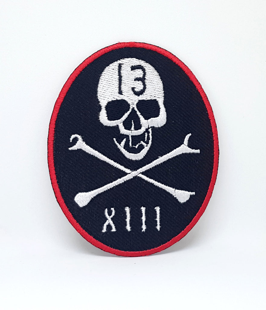 XIII Skull & Cross Bones Halloween Iron/Sew On EMBROIDERED Patch