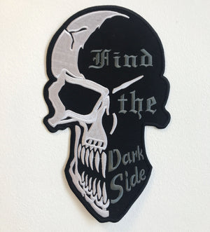 Find the Dark Side Skull Large Biker Jacket Back Sew On Embroidered Patch - Patches-Badges