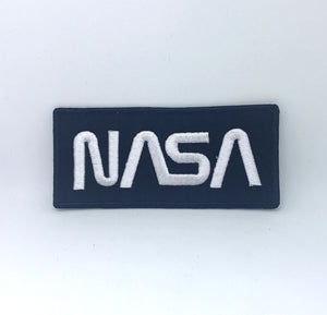 NASA Space Agency Iron On Sew on Embroidered Patch - White on Black