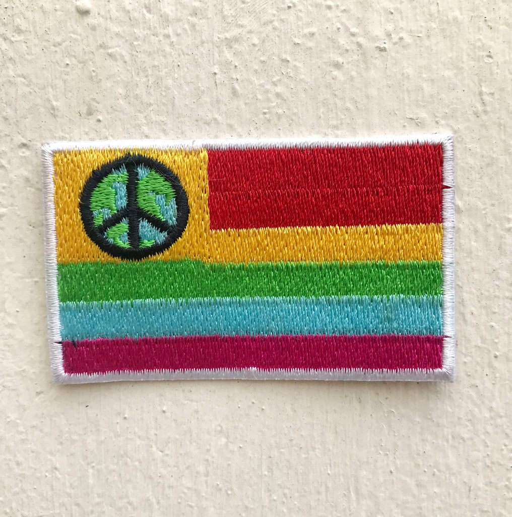 Colourful Flag with peace logo Iron on Sew on Embroidered Patch - Patches-Badges