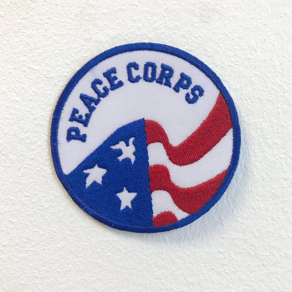 Peace Corps with United States Flag Badge Iron on Sew on Embroidered Patch