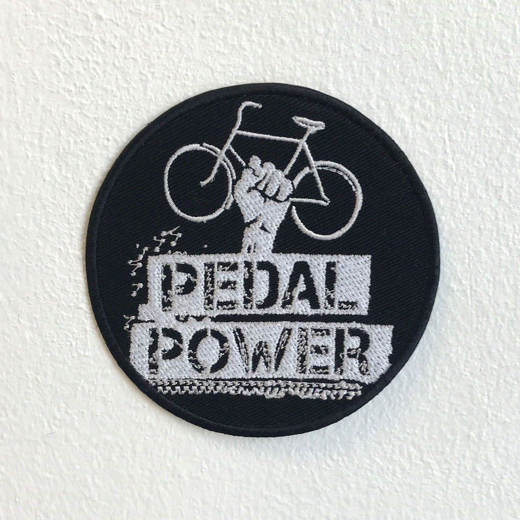Pedal Power Bicycle Badge Black Iron Sew on Embroidered Patch
