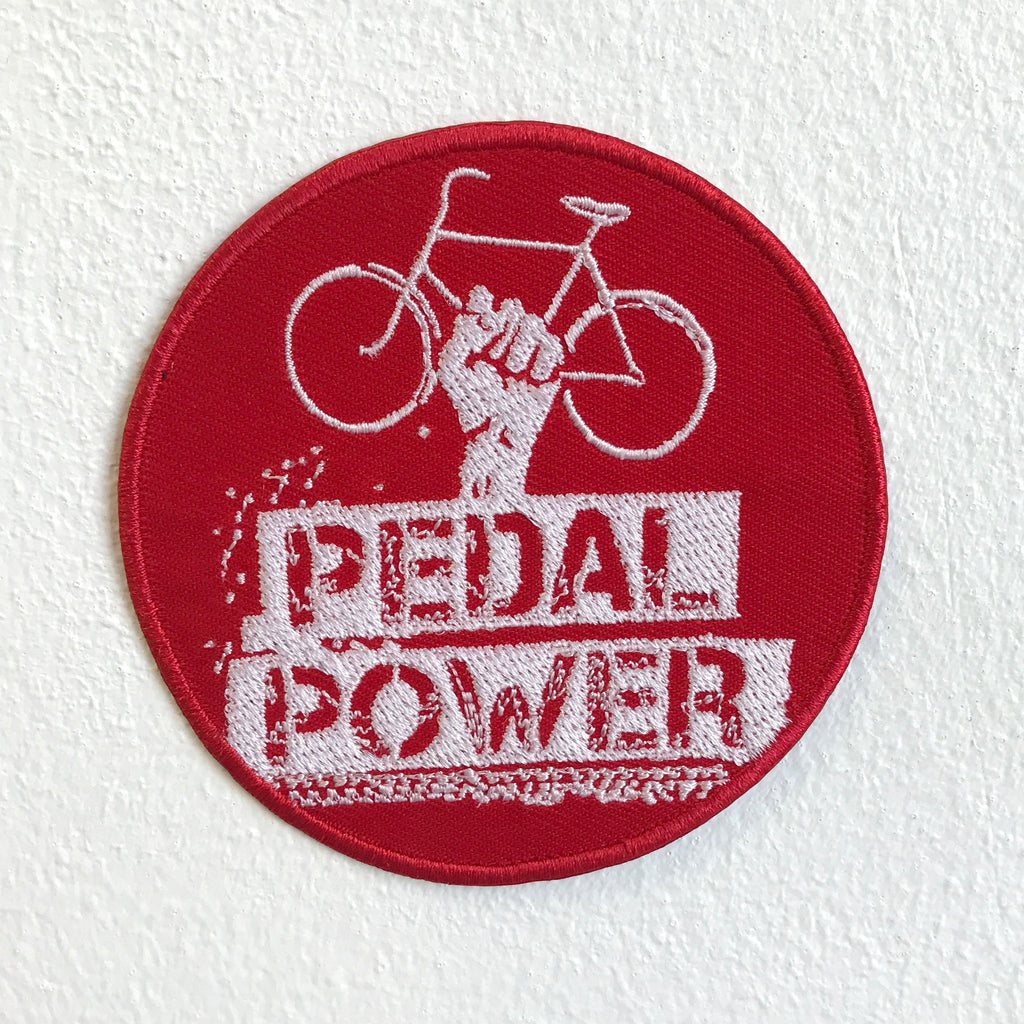 Pedal Power Bicycle Badge Red Iron Sew on Embroidered Patch