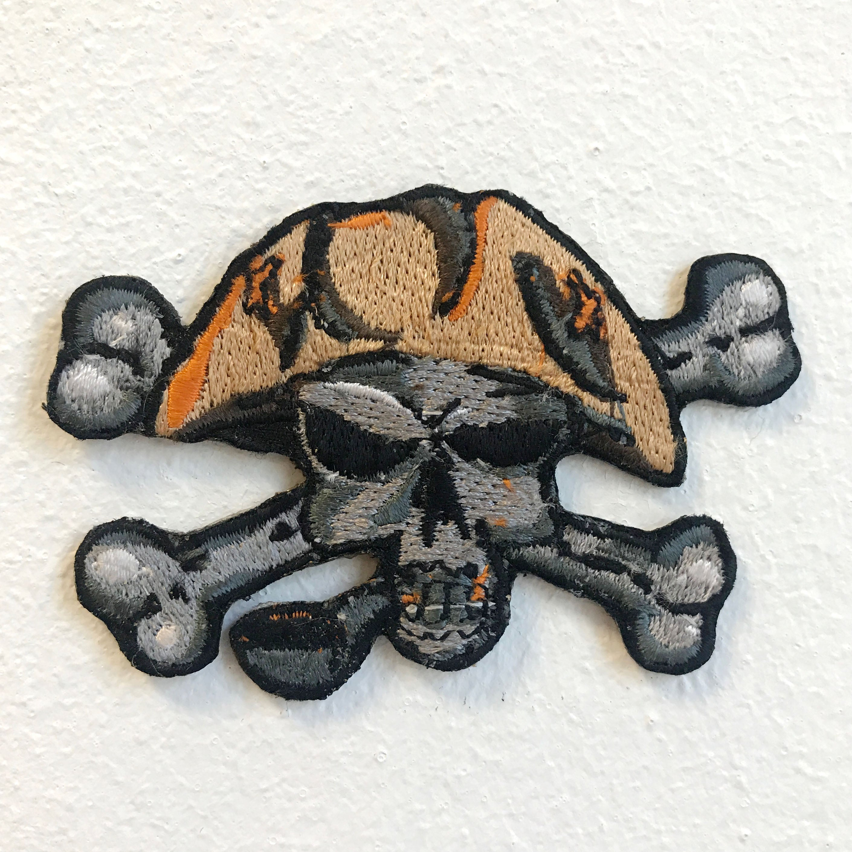 Pirate Skull Cross Bone Patch Iron on Sew on Embroidered Patch
