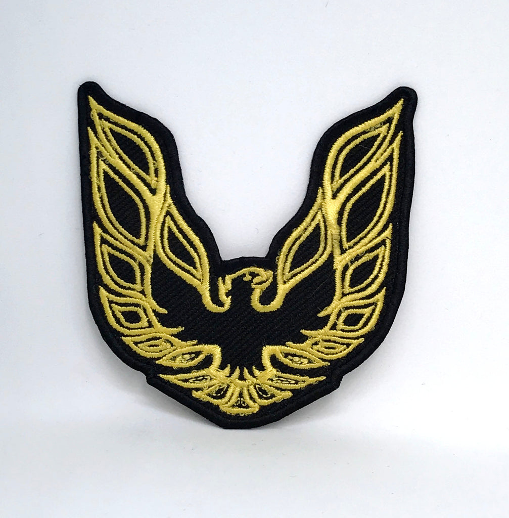 PONTIAC FIREBIRD TRANS AUTOMOBILES CAR RACING Iron Sew on Embroidered Patch - YELLOW ON BLACK