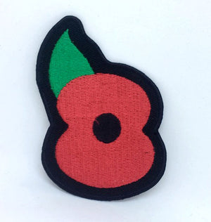Poppy Flower badge Iron on Sew on Embroidered Patch