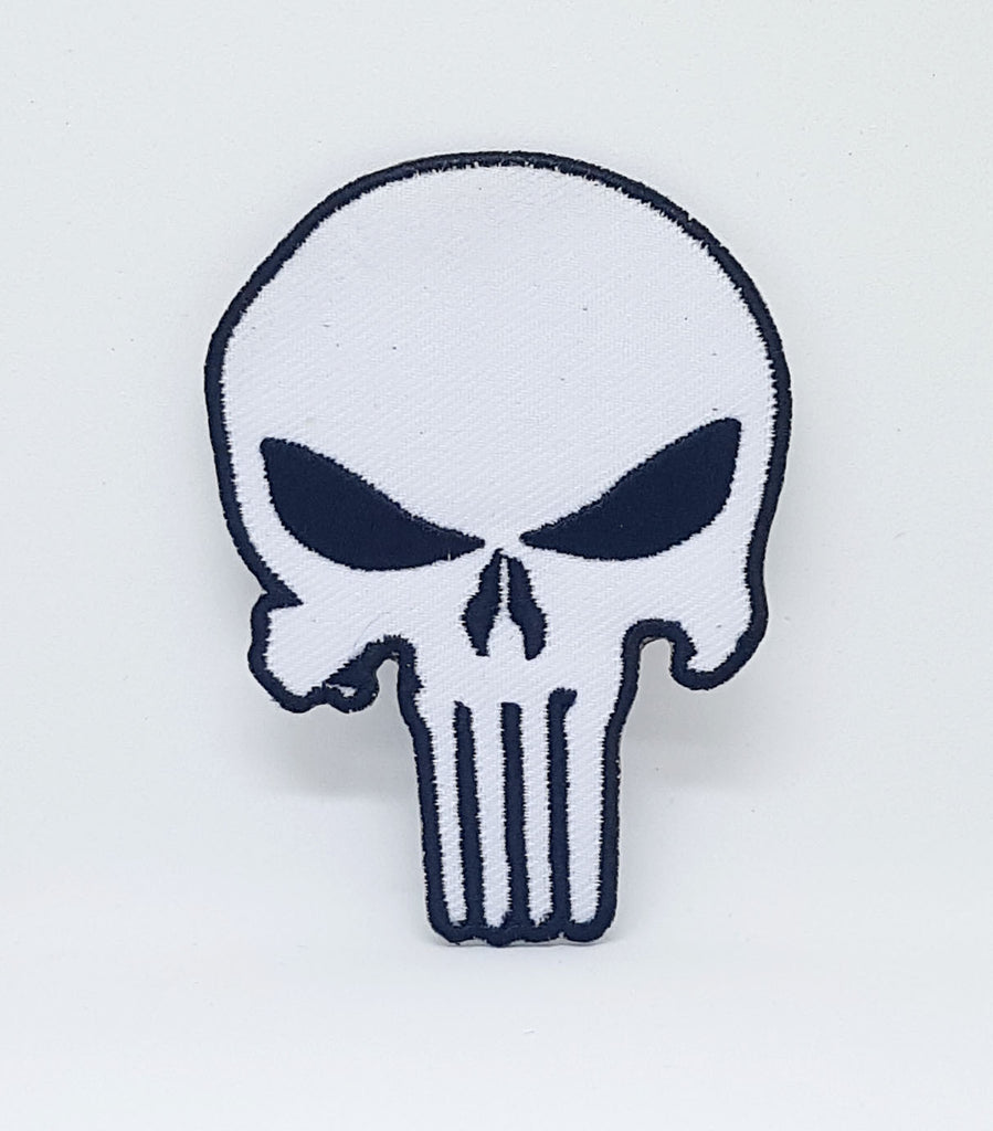 Marvel Avengers and DC Comics Iron or Sew on Embroidered Patches - The Punisher White