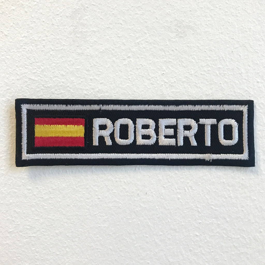 Spanish Flag with Roberto Badge Iron on Sew on Embroidered Patch