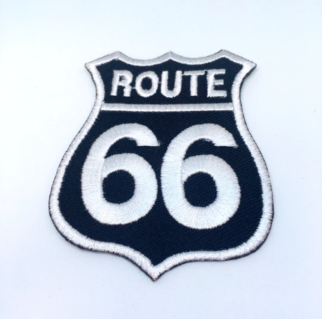 Route 66 Highway Sign Biker Jacket Iron on Sew on Embroidered Patch - White