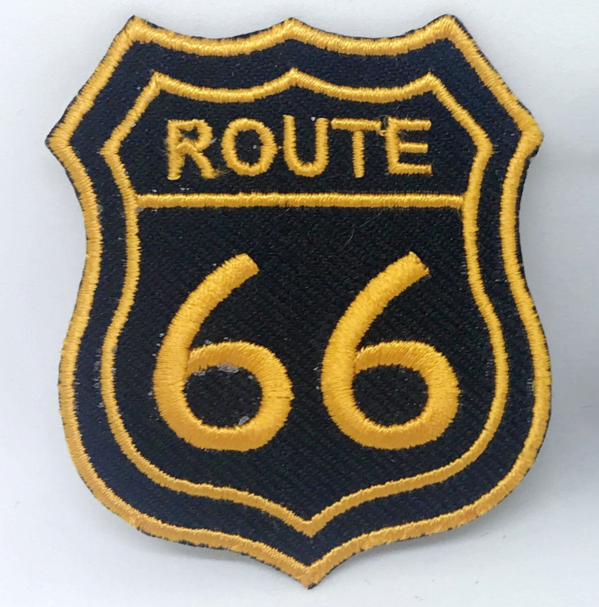 US Route 66 Car Motorcycle Biker Jacket Motif Iron on Embroidered Patch - Golden