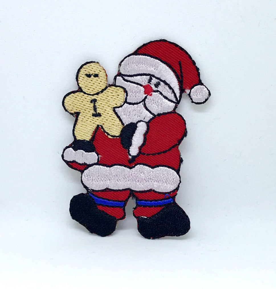 Santa Claus gingerbread Christmas Iron on Embroidered Patch