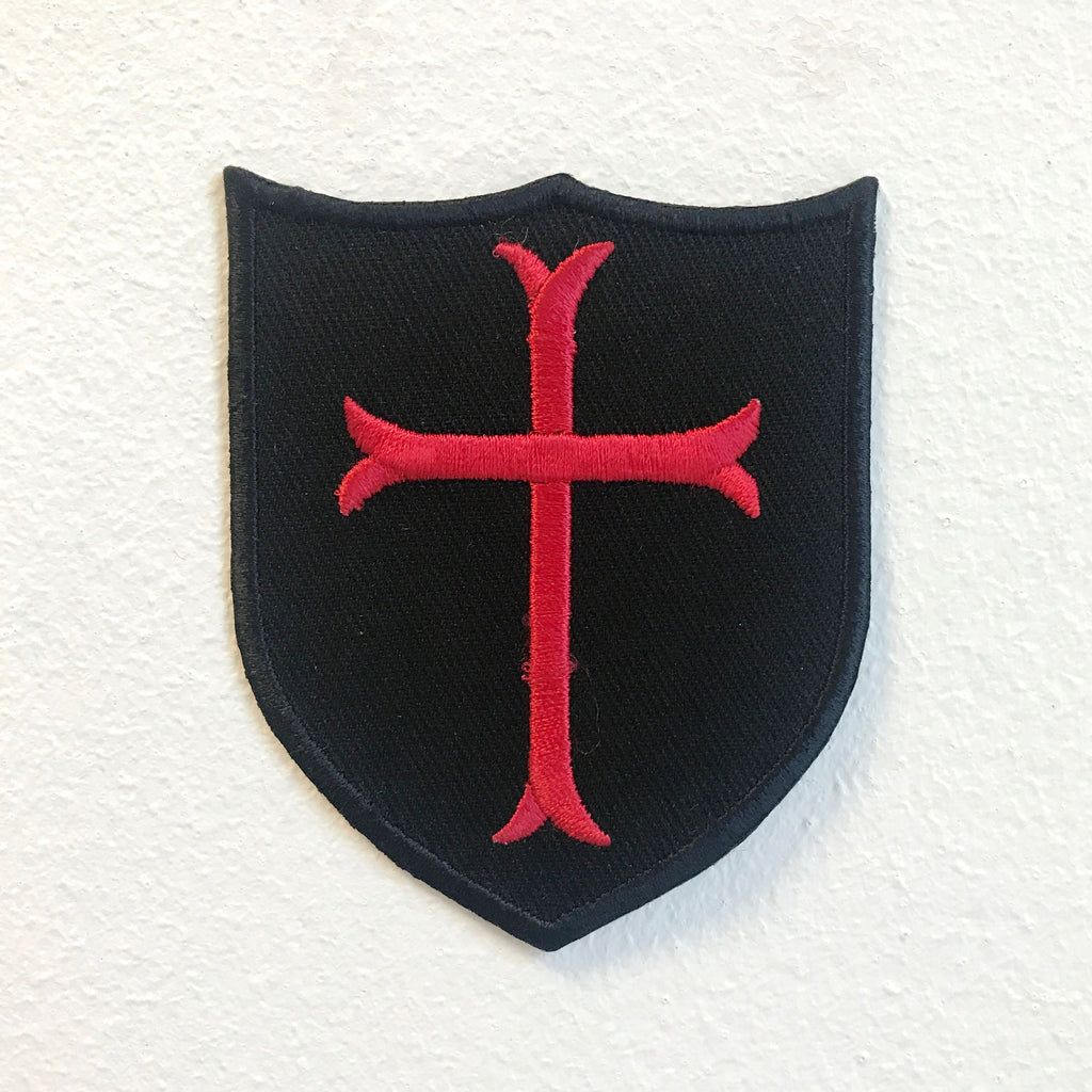 Knights Templar Cross Shield Badge Iron on Sew on Embroidered Patch - Patches-Badges