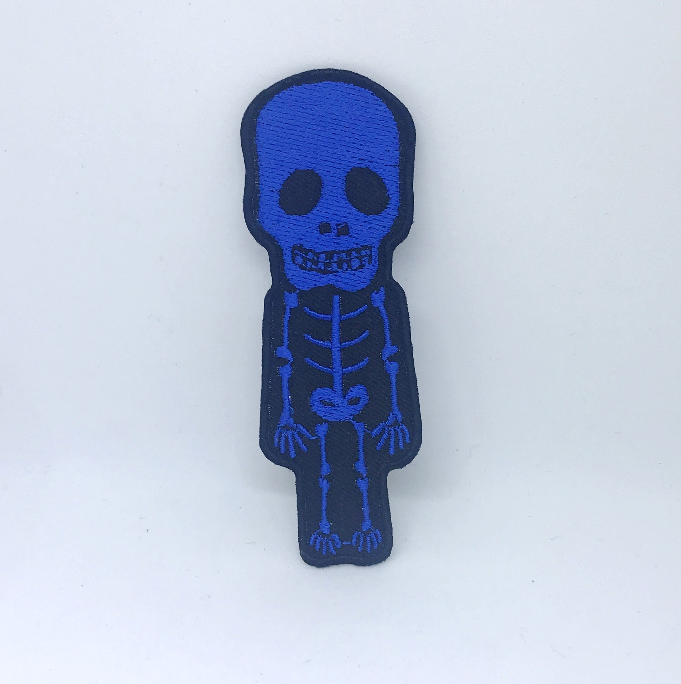 CUTE Skull Skeleton Biker Rock Goth Emo BOW Embroidered Sew Iron On Patch - Blue