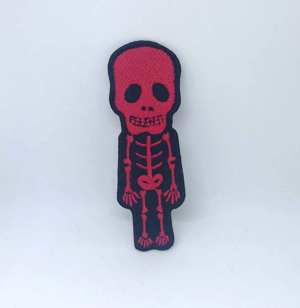 CUTE Skull Skeleton Biker Rock Goth Emo BOW Embroidered Sew Iron On Patch - Red - Patches-Badges