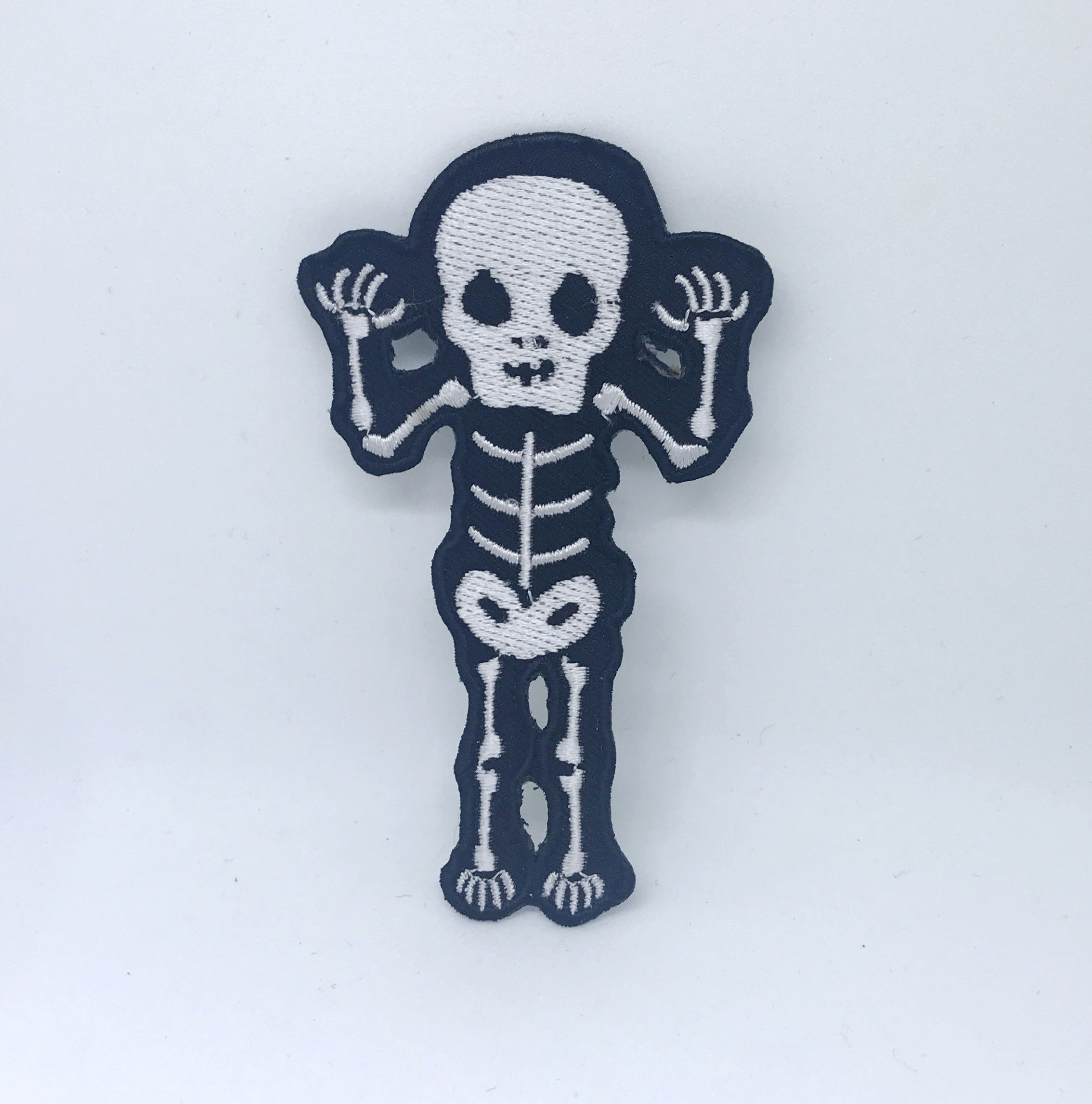 CUTE Waving Skeleton Biker Rock Goth Emo BOW Iron On Embroidered Patch - White