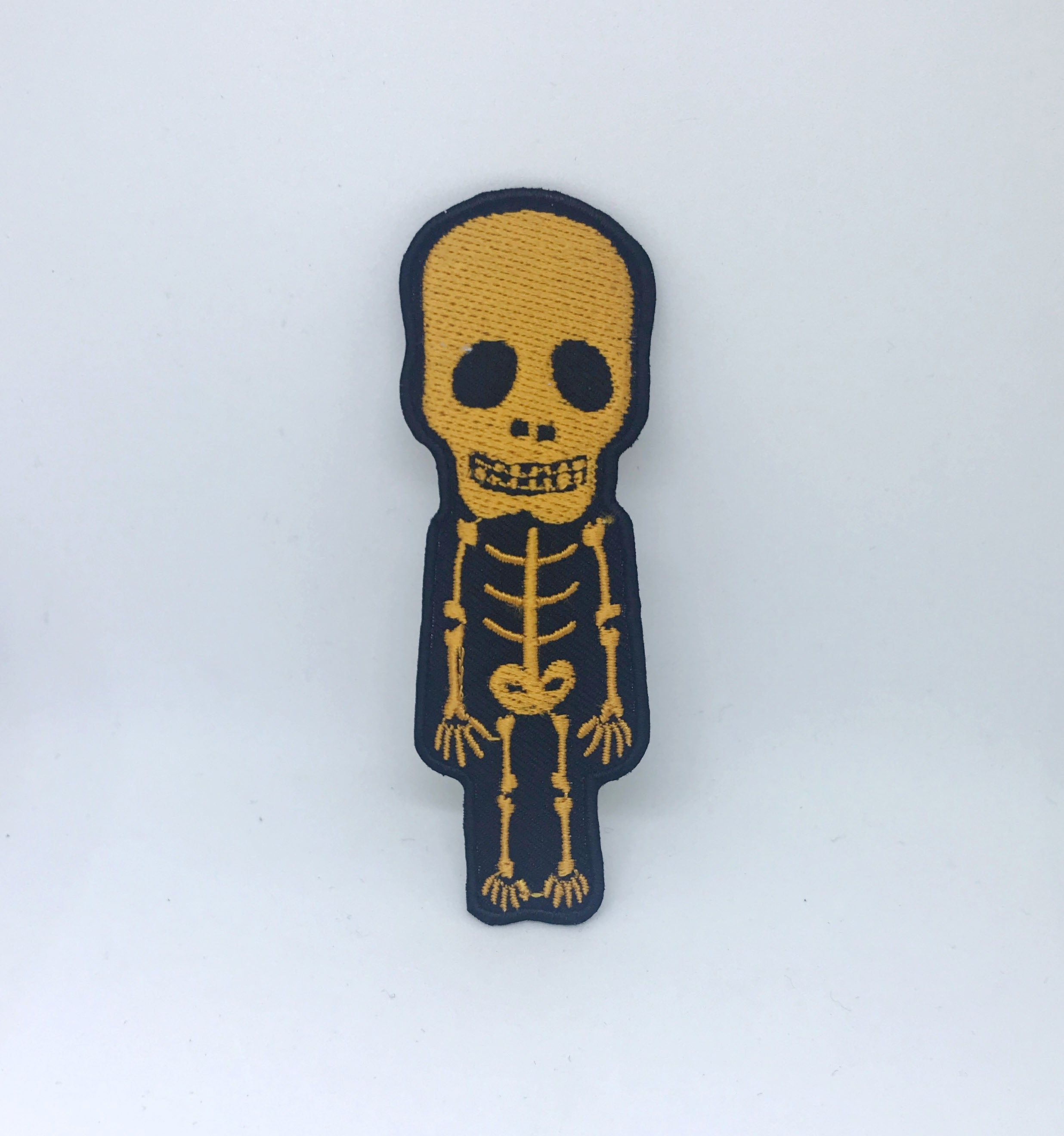 CUTE Skull Skeleton Biker Rock Goth Emo BOW Embroidered Sew Iron On Patch - Yellow