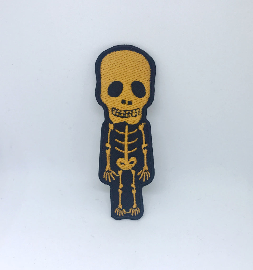 CUTE Skull Skeleton Biker Rock Goth Emo BOW Embroidered Sew Iron On Patch - Yellow - Patches-Badges