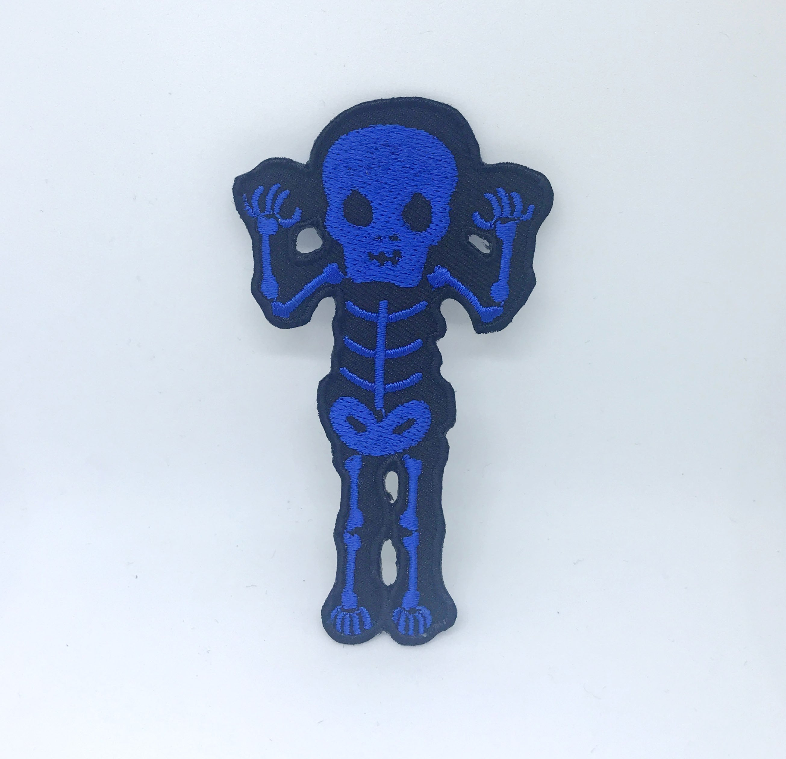 CUTE Waving Skeleton Biker Rock Goth Emo BOW Iron On Embroidered Patch - Blue