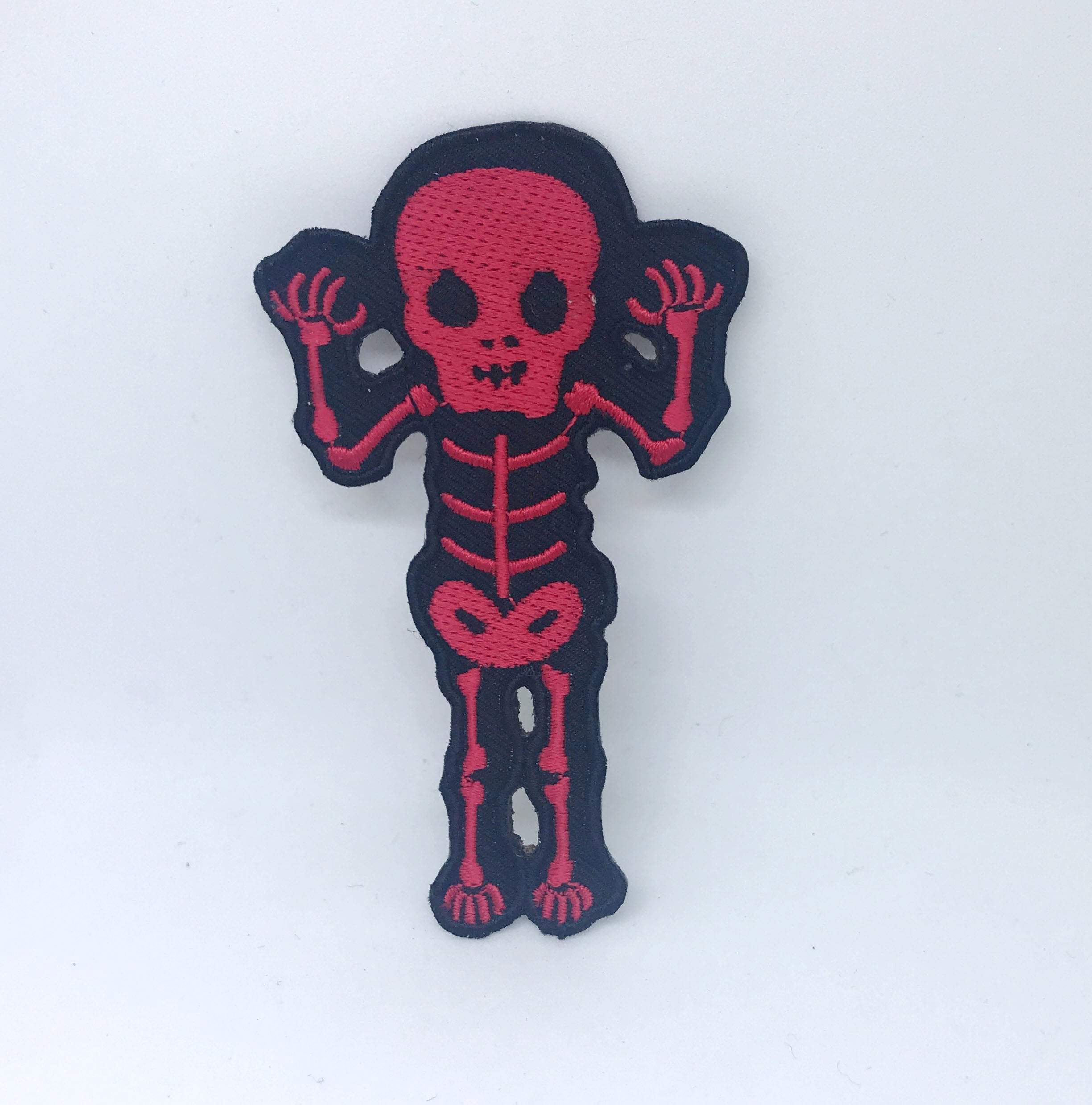 CUTE Waving Skeleton Biker Rock Goth Emo BOW Iron On Embroidered Patch - Red