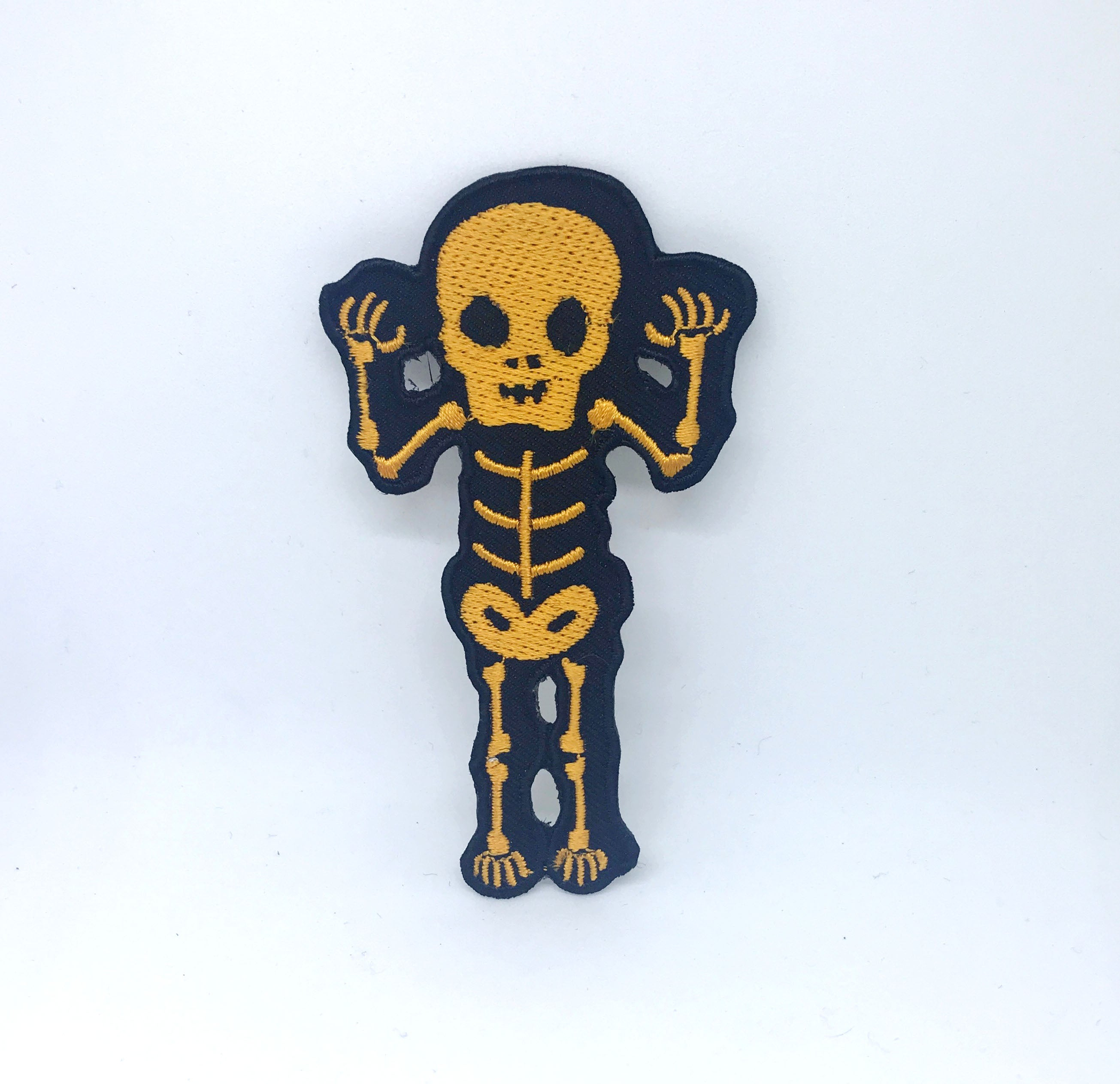 CUTE Waving Skeleton Biker Rock Goth Emo BOW Iron On Embroidered Patch - Yellow