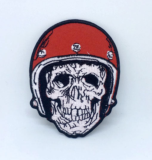 Skull Biker with helmet Iron on Sew on Embroidered Patch