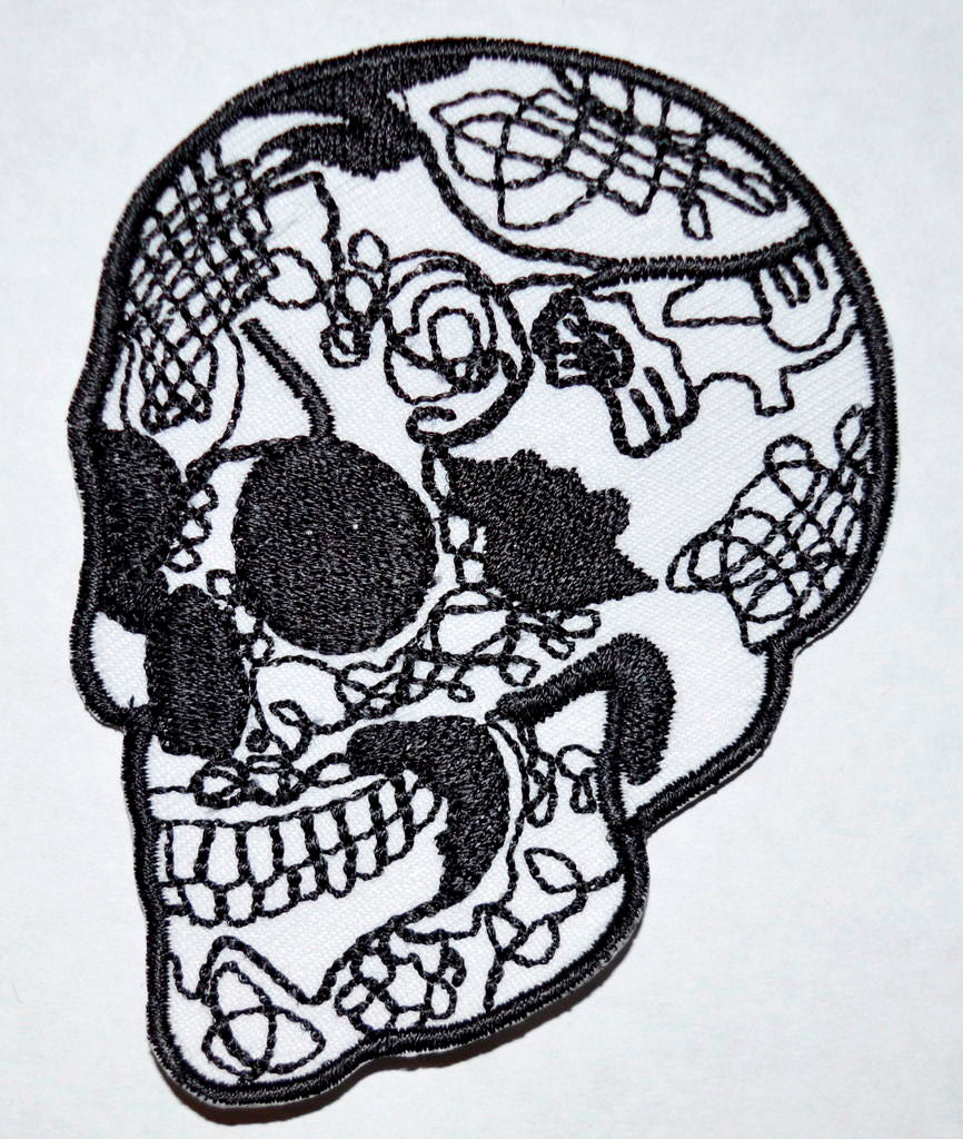 Skull Head Tattoo Biker Horror Goth Punk Iron on Sew on Embroidered Patch