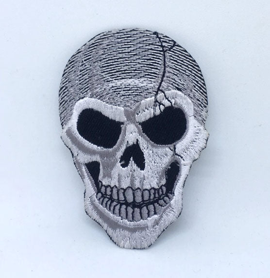Reaper Demon Crack Skull Rockabilly Iron on Sew on Embroidered Patch