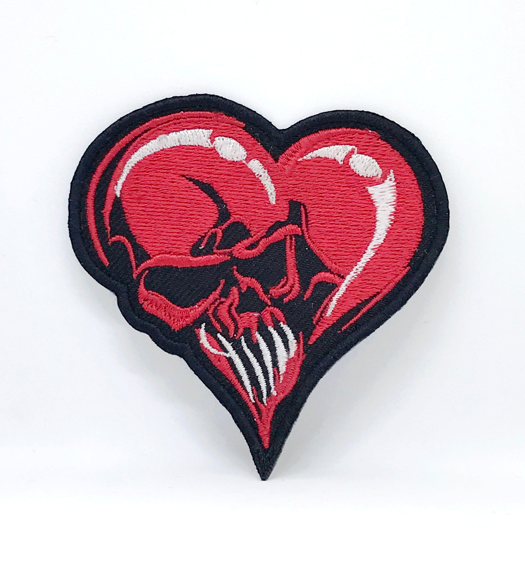 Red Heart Skull Lady Rider Iron Sew On Embroidered Patch