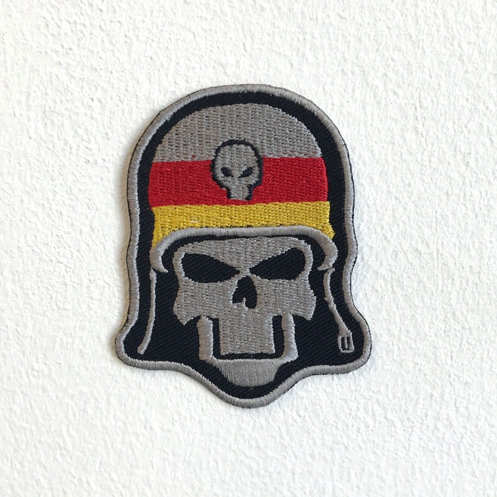 Army Skull with Helmet Skeleton Face Colourful Sew on Embroidered Patch - Patches-Badges