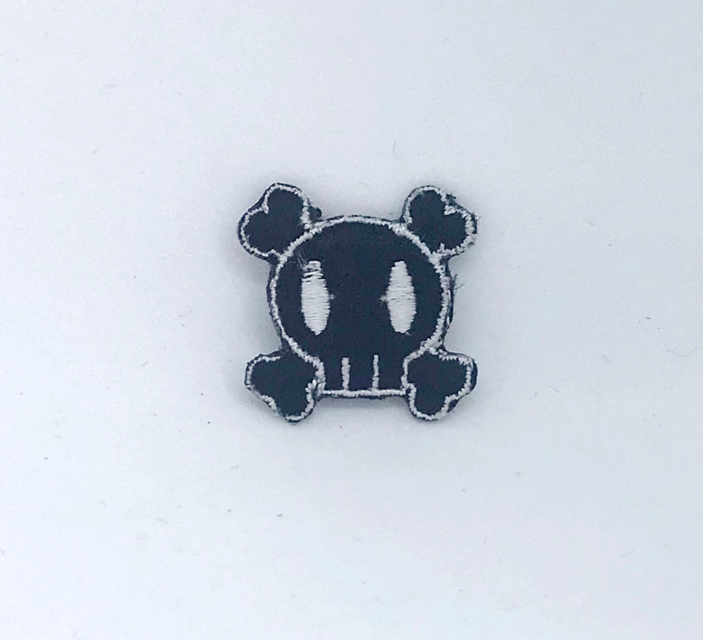 Crossbones Black & White Skull Iron on Sew on Embroidered Patch - Patches-Badges