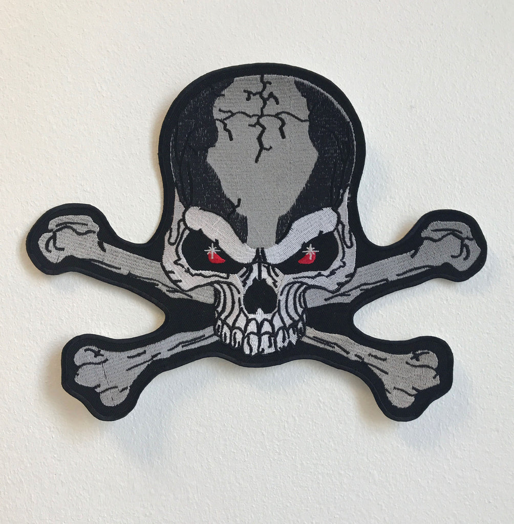 Skull Crossbone Rider Large Biker Jacket Back Sew On Embroidered Patch