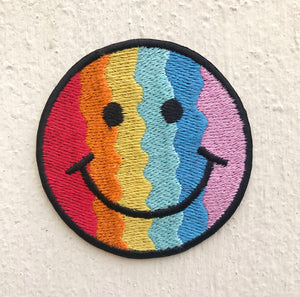 Cute Smiley colourful Iron on Sew on Embroidered Patch