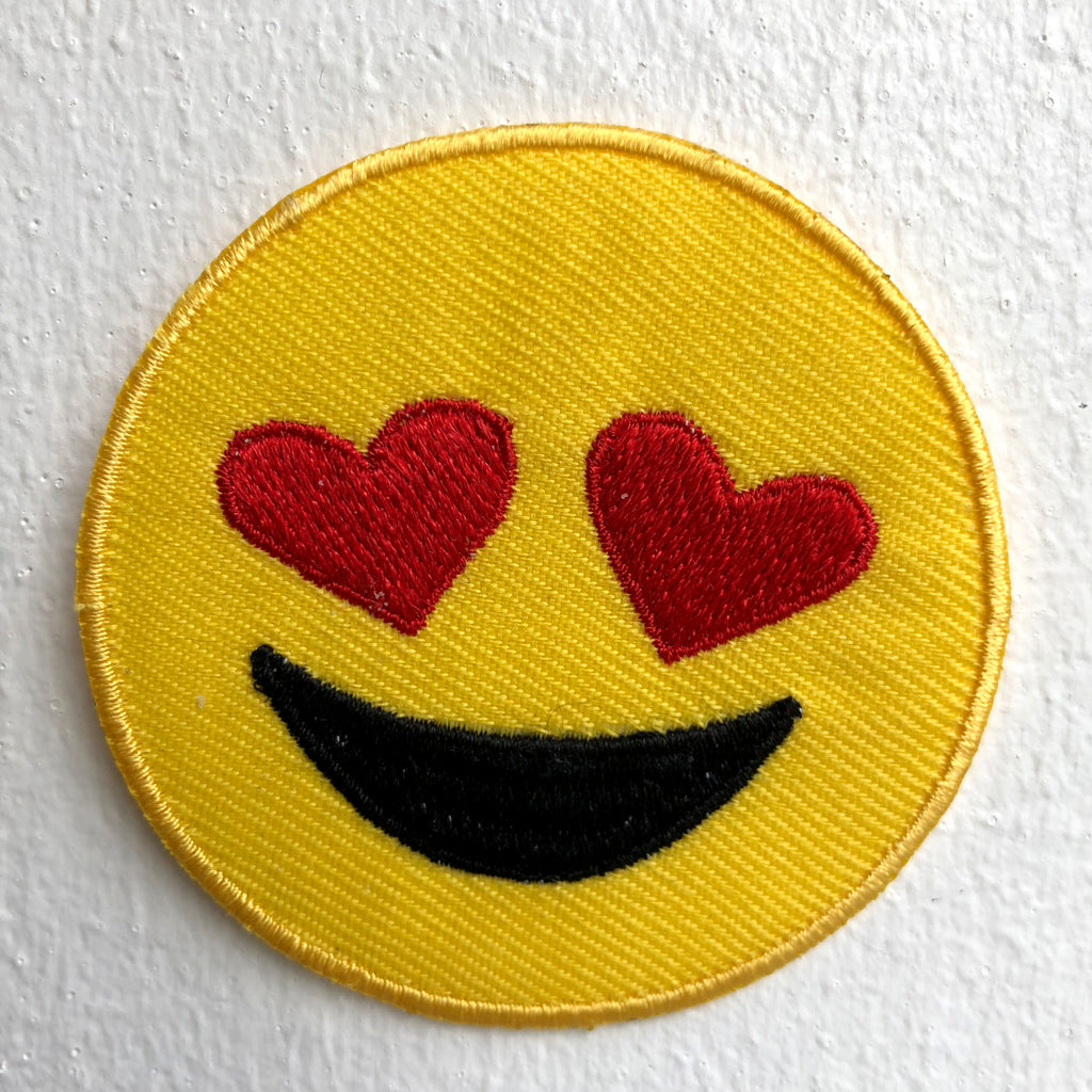 Happy Smiley with Hearts Love Iron on Sew on Embroidered Patch