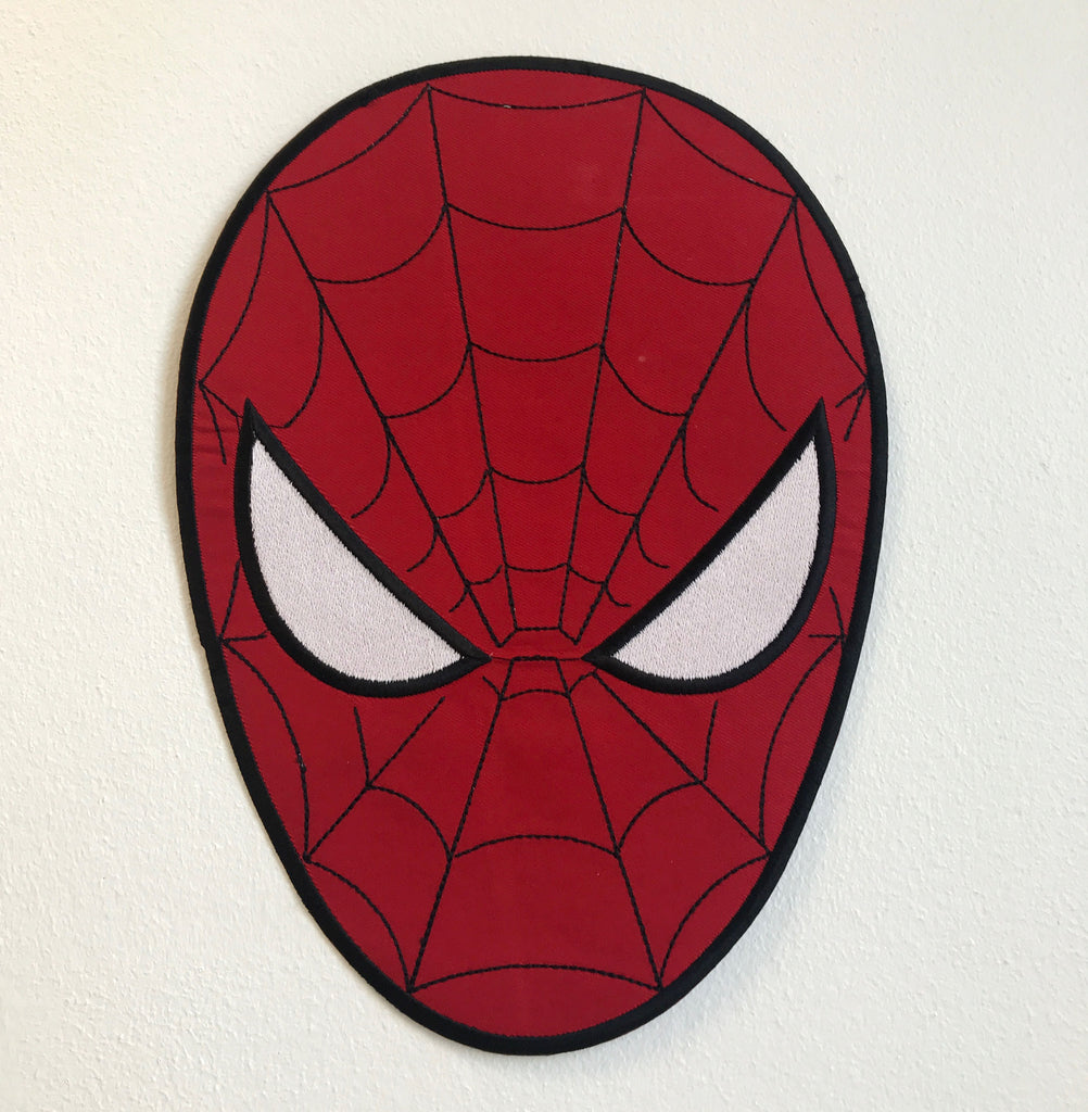 Spiderman Face Large Biker Jacket Back Sew On Embroidered Patch