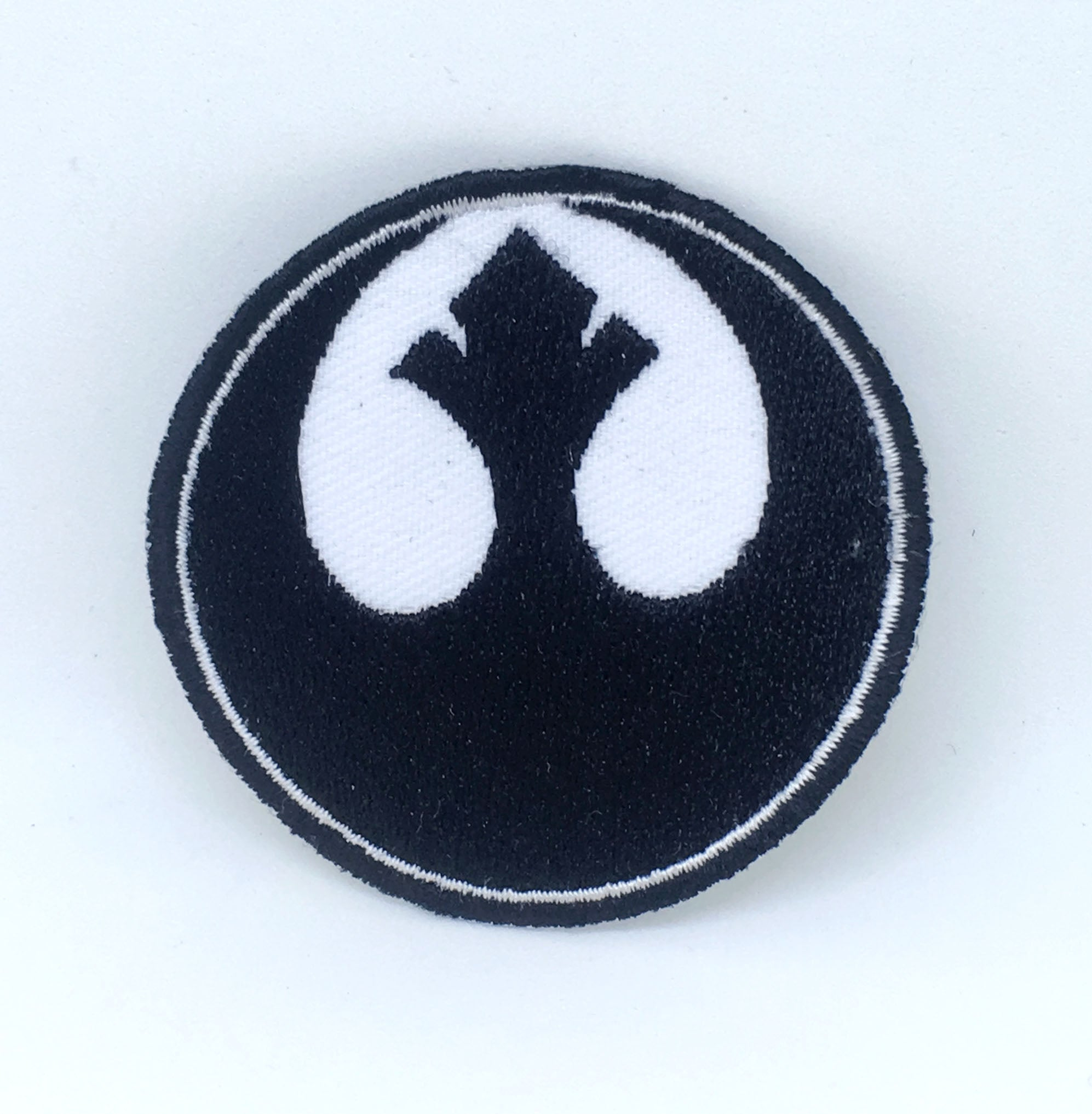 STAR WARS Movies Iron or Sew on Embroidered Patches - Rebel Alliance Black with White Background