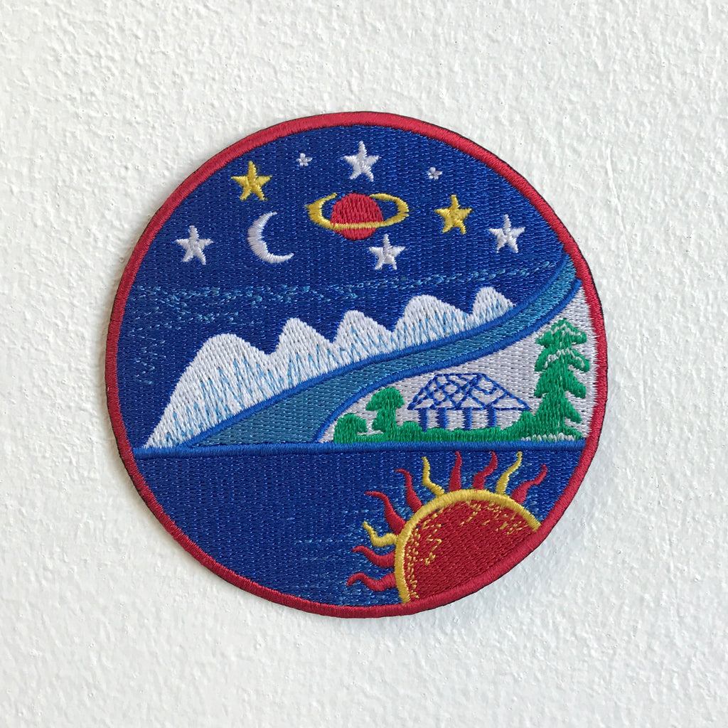 Beautiful Scenery Moon Stars Trees Ocean Mountain Hut Sun Iron Sew on Embroidered Patch - Patches-Badges