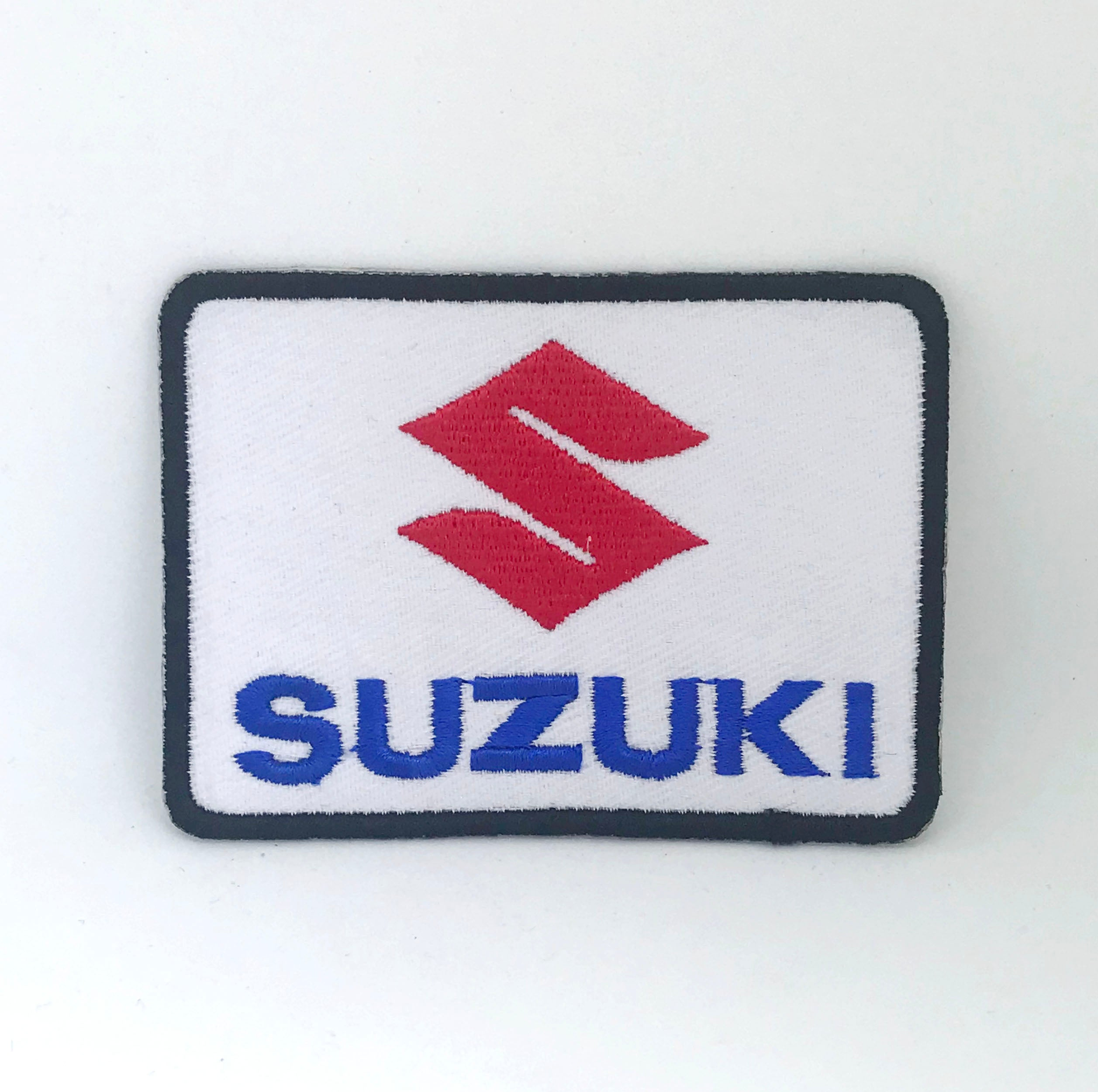 Suzuki Logo Sports Car Racing White Iron on Embroidered Patch