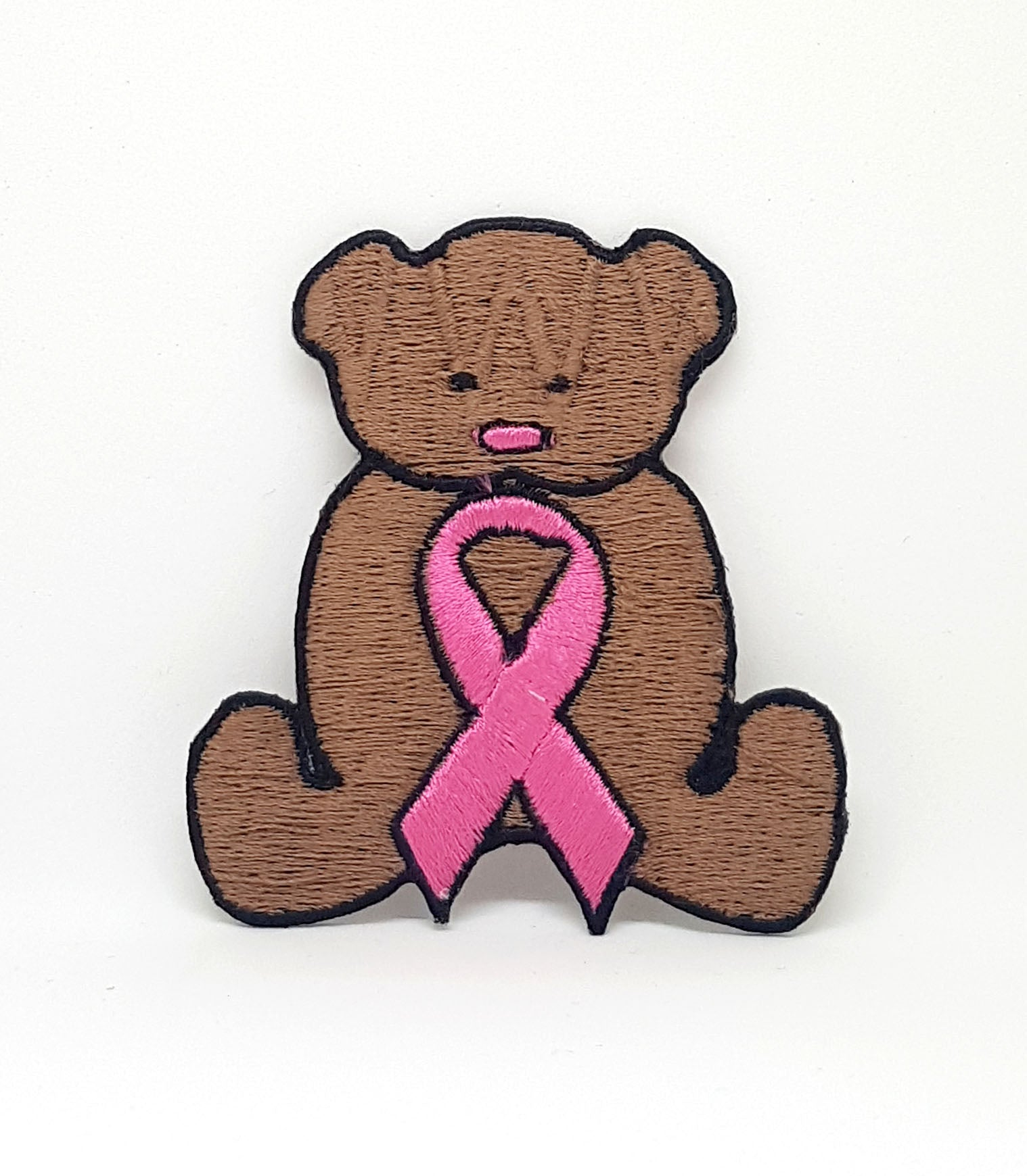 Teddy Bear & Breast Cancer awareness Pink Ribbon Iron Sew on Patch Badge
