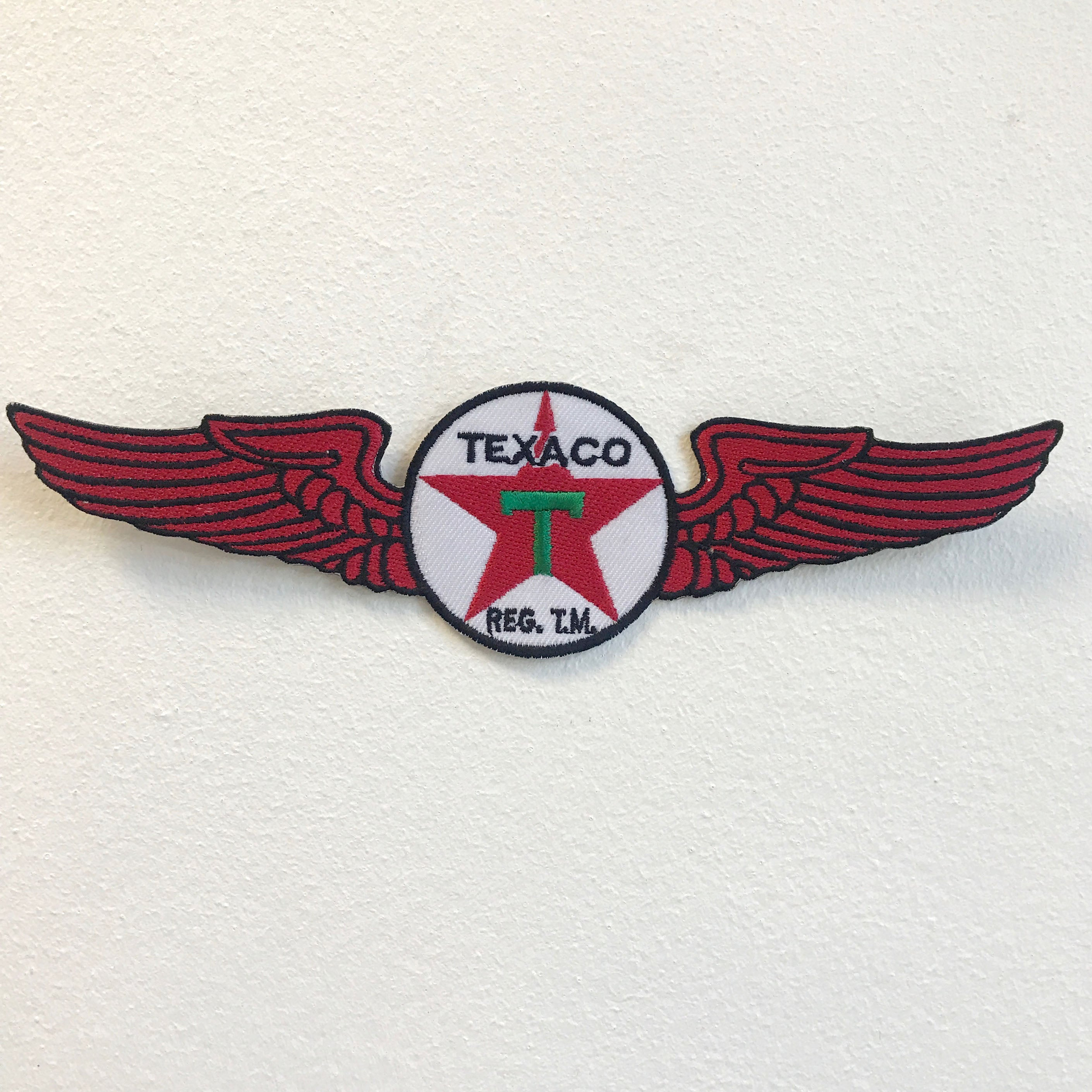 Texaco Logo with Wings Iron on Sew on Embroidered Patch