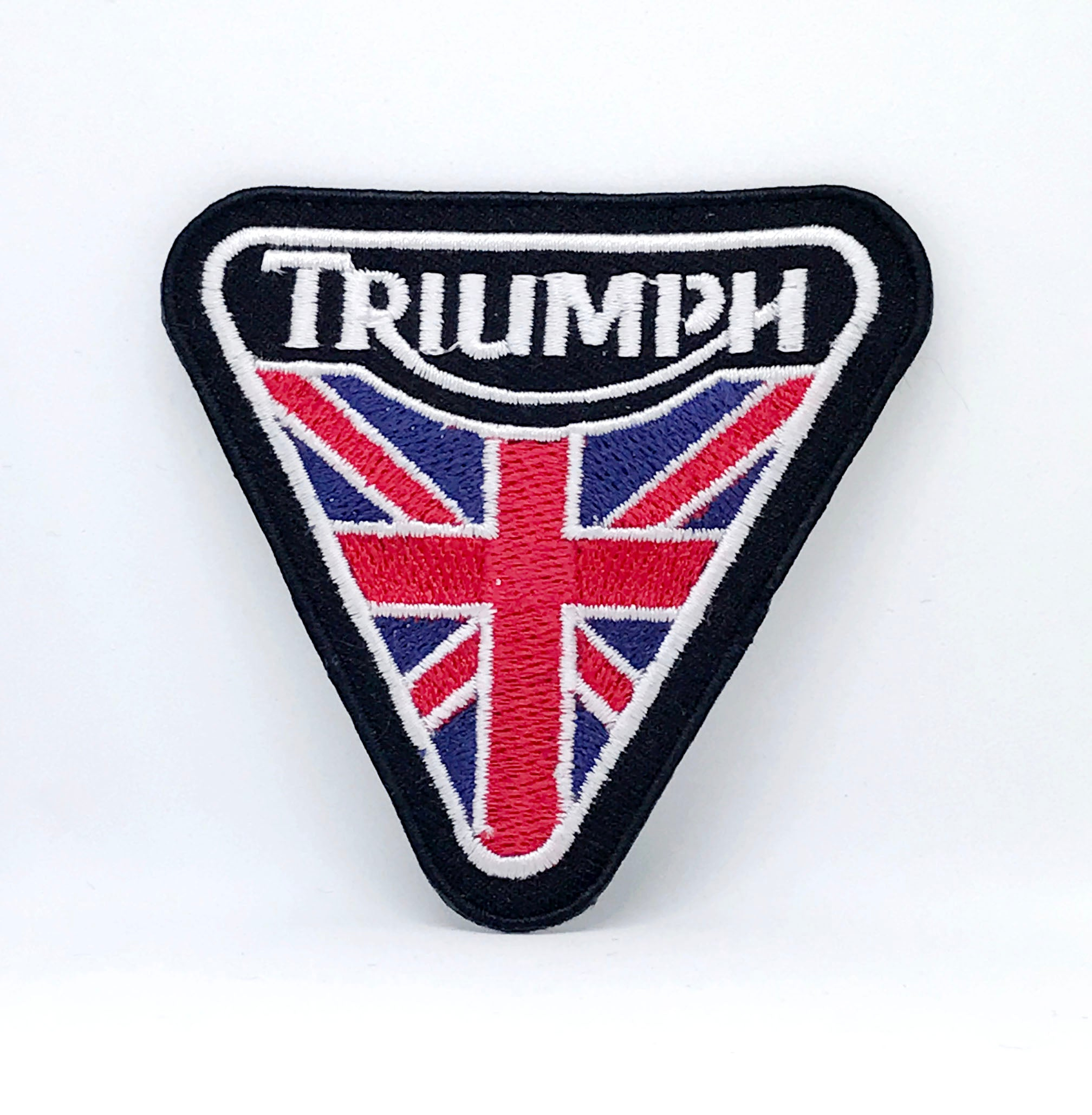 Triumph With Union Jack Black Flag Iron Sew on Embroidered Patch