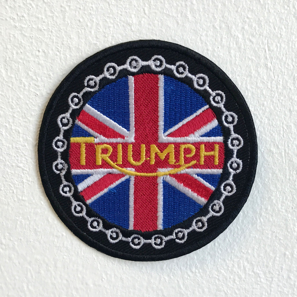 Triumph Bikes Union Jack round Motorsports Iron Sew on Embroidered Patch