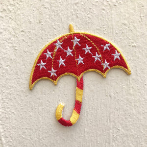 Cute Umbrella with stars Iron on Sew on Embroidered Patch