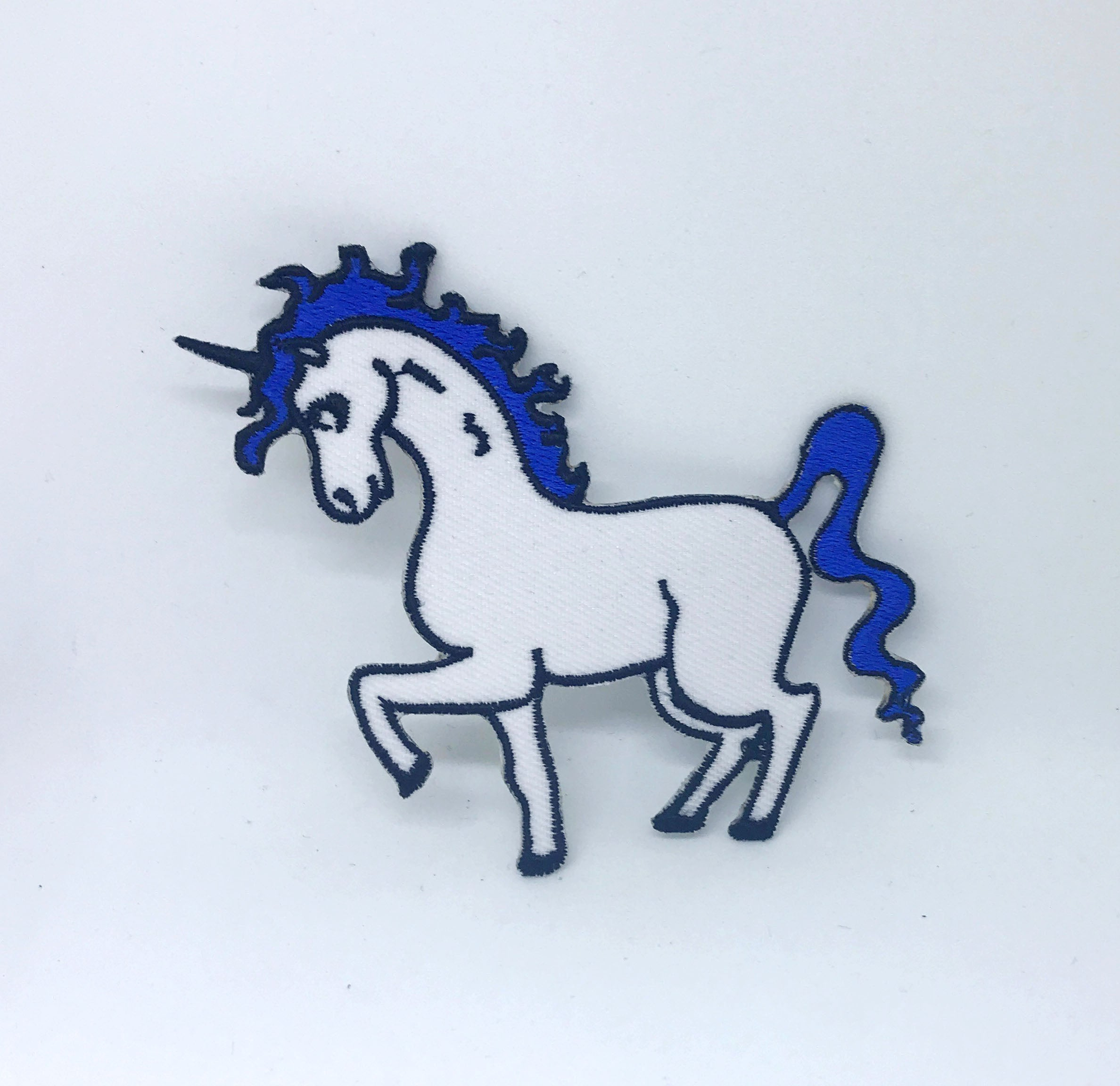 Cute Unicorn Blue White Iron on Sew on Embroidered Patch