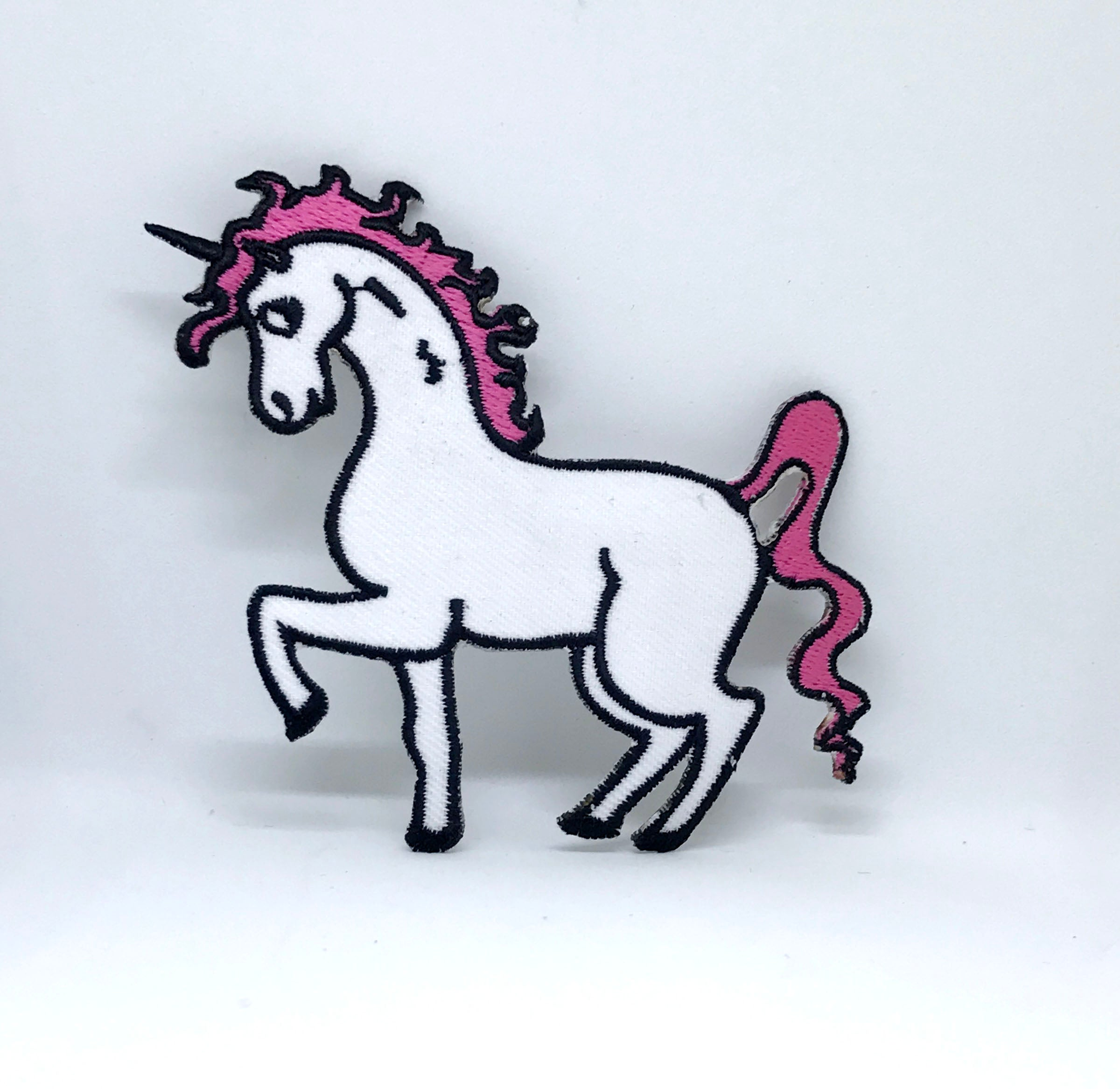 Cute Unicorn Pink White Iron on Sew on Embroidered Patch