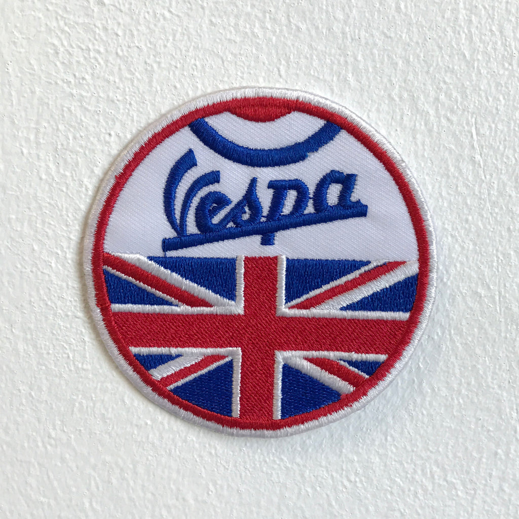 British Union Jack Vespa Motorbike Iron Sew on Embroidered Patch - Patches-Badges