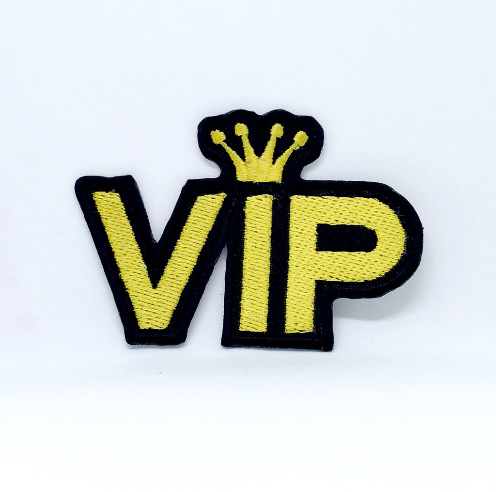 New Letter VIP Icon Acrylic Iron on Sew on Embroidered Patch