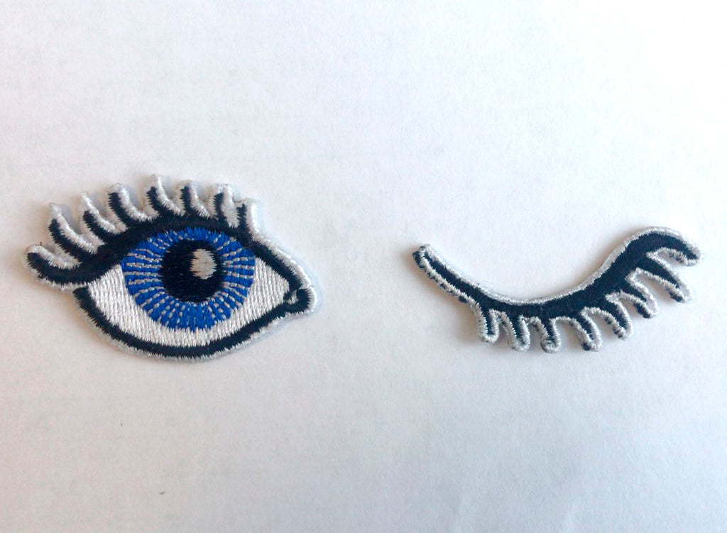 Wink eye set cool badge Iron on Sew on Embroidered Patch