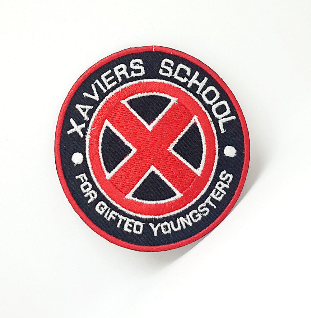 Marvel Avengers and DC Comics Iron or Sew on Embroidered Patches - XAVIERS SCHOOL Red