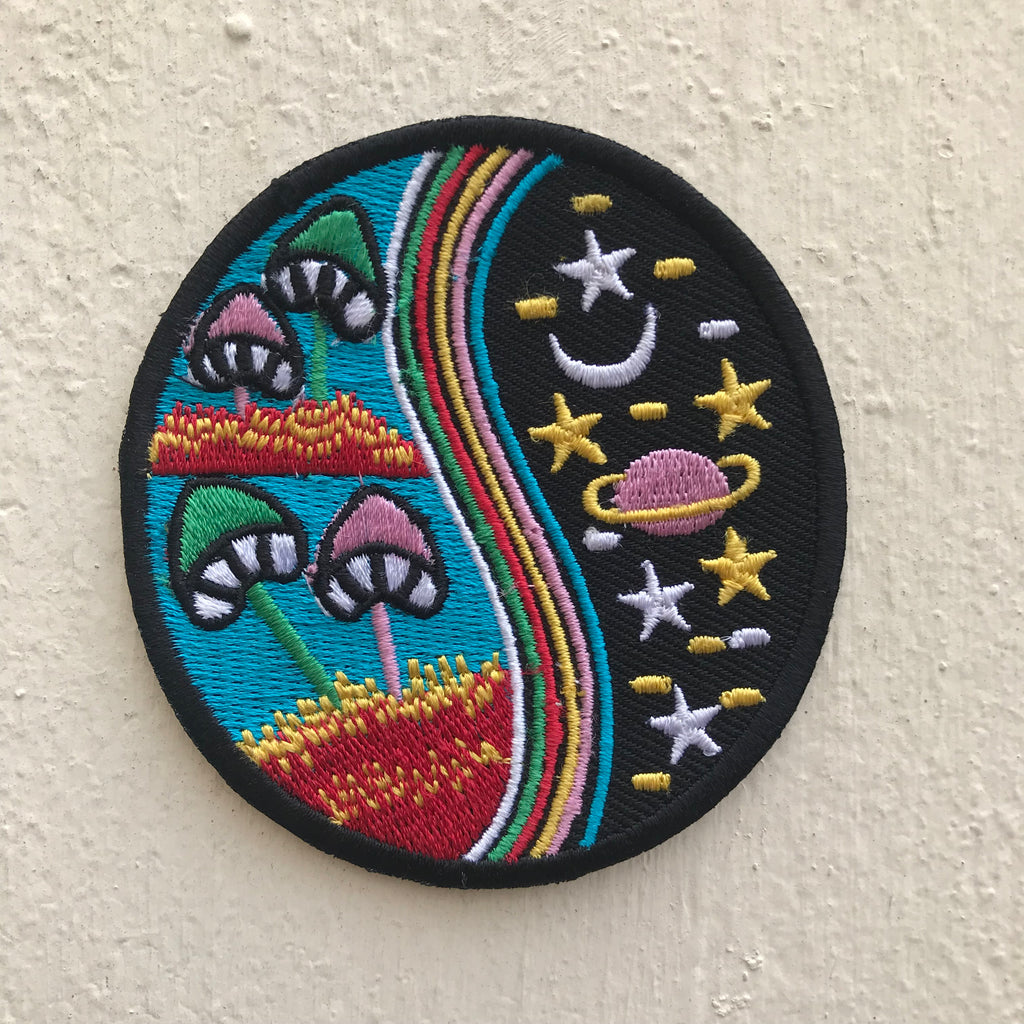 Yin Yang Mushroom Rainbow Blue Nature World Galaxy Iron on Sew on Embroidered Patch